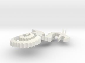 Dragon Necklace in White Natural Versatile Plastic