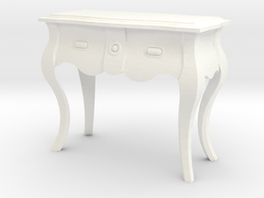 1:24 Bombe Console Table in White Strong & Flexible Polished