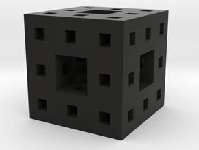 Tiny Menger Sponge Pendant/Charm/Sculpture in Black Natural Versatile Plastic