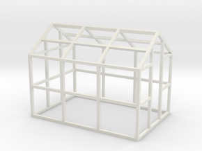 Small Greenhouse Model 1/32 in White Natural Versatile Plastic