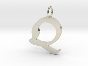 Q Classic Script Initial Pendant in 14k White Gold