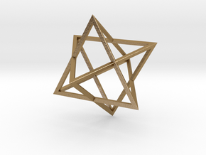 Merkaba Wire - 4cm in Polished Gold Steel