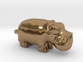 3000 BC Hippo Small Pendant in Natural Brass