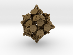 Player Order Die - 3D Print Only Version in Natural Bronze