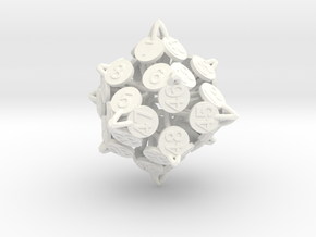 Player Order Die - 3D Print Only Version in White Processed Versatile Plastic