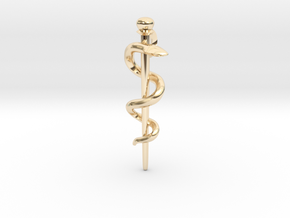 Snake rod pendant (medicine) in 14K Yellow Gold