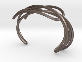 PENROSE SINGLE CUFF in Polished Bronzed Silver Steel