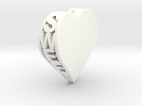 Sweet Heart Pendant in White Processed Versatile Plastic