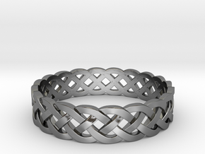 Rohkea Bold Celtic Knot Size 7 in Fine Detail Polished Silver