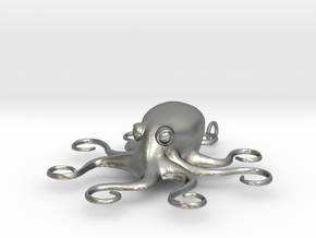 Octopus Pendant in Natural Silver