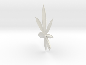 Cannabis Charm in White Natural Versatile Plastic