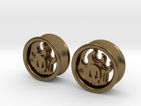 1 Inch Flame Skull Plugs in Natural Bronze