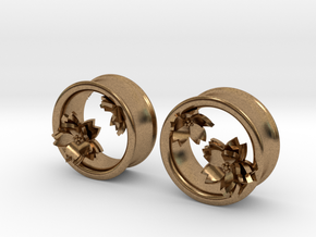 Cherry Blossom 1 Inch Tunnels in Natural Brass