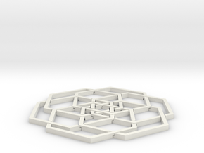 Hex Flower Coaster 80mm in White Natural Versatile Plastic