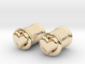 Heart 8mm (0 gauge) tunnels in 14K Yellow Gold