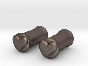 Heart 5mm (4 gauge) tunnels in Polished Bronzed Silver Steel