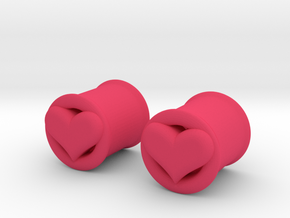 Heart 10mm (00 gauge) tunnels in Pink Processed Versatile Plastic