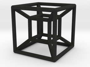 "1"" Wireframe Hypercube in Black Acrylic"