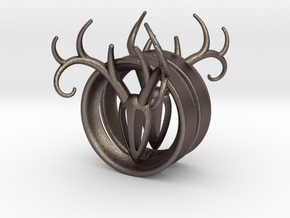 2 Inch Antler Tunnels in Polished Bronzed Silver Steel