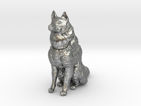 Dog Figurine - Sitting Finnish Spitz 1:43,5 scale  in Natural Silver