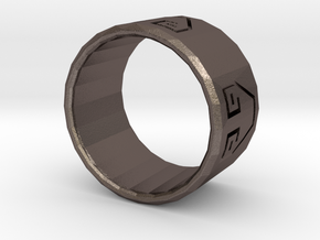 Earth Bender Ring in Polished Bronzed Silver Steel