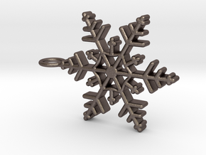 Schneeflocke mit großer Öse in Polished Bronzed Silver Steel