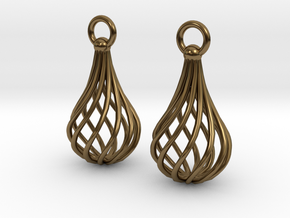 Twisted Cage earrings in Polished Bronze