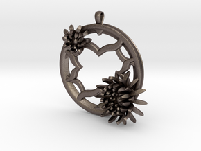 2 Inch Chrysanthemum Tunnel Pendant in Polished Bronzed Silver Steel