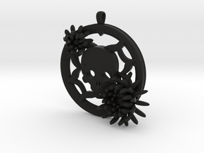 2 Inch Chrysanthemum And Skull Pendant in Black Natural Versatile Plastic