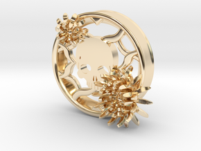 2 Inch Chrysanthemum And Skull Tunnel (left) in 14K Yellow Gold