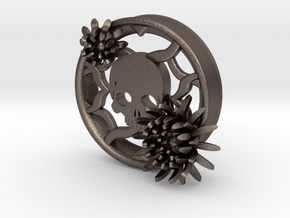 2 Inch Chrysanthemum And Skull Tunnel (left) in Polished Bronzed Silver Steel