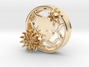 2 Inch Chrysanthemum And Skull Tunnel (right) in 14K Yellow Gold