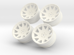 1/10 Touring Car MRR HR3 Wheel Set  in White Strong & Flexible Polished