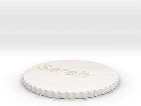 by kelecrea, engraved: Sarah in White Natural Versatile Plastic