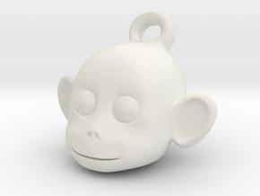 Monkey face key chain in White Natural Versatile Plastic