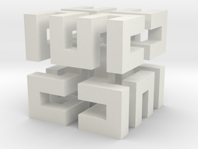 Tiny Baby Hilbert Cube in White Natural Versatile Plastic