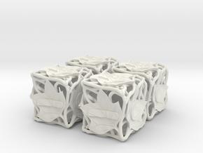 Fudge Botanical d6 (Tulip Tree) 4d6 Set in White Natural Versatile Plastic