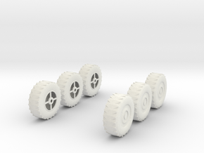 Wheel x6, 28mm, 1/35 in White Strong & Flexible