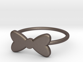 Midi Bow Ring the second by titbit in Polished Bronzed Silver Steel