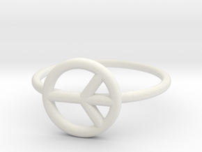 Peace Midi Ring, knuckle ring, by titbit in White Natural Versatile Plastic