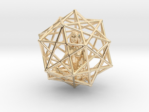 Merkabah Starship Meditation 40mm Dodecahedral in 14K Yellow Gold