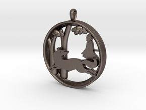 "Children's Wall Charm ""Little Red Riding Hood"" in Polished Bronzed Silver Steel"