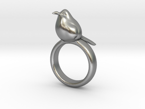 Ring with a bird on top of it in Natural Silver