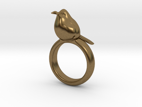 Ring with a bird on top of it in Natural Bronze