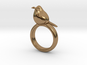 Ring with a bird on top of it in Natural Brass