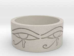 Egyptian Eye Of Horus Ring Size 7 in Sandstone