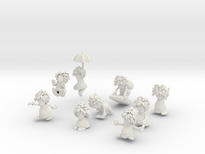 9 Lemmings Complete Set (White and Small) in White Natural Versatile Plastic