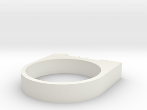 """FLAME"" Ring in White Natural Versatile Plastic"