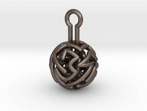 infinite labyrinth pendant in Polished Bronzed Silver Steel
