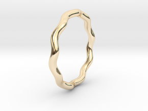 Sine Ring Round 18mm in 14K Yellow Gold